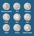 set of silver cripto currency logo coins vector image