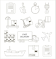 Shipping and delivery icons set vector image