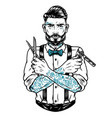 stylish bearded and mustached barber vector image vector image