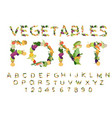 vegetarian font alphabet of vegetables edible vector image vector image