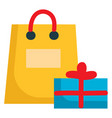 yellow present bag and blue present box on a vector image