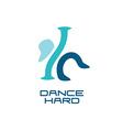 Modern dance school logo template vector image