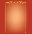 golden frame on red background vector image