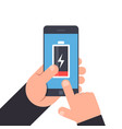 hand holding and pointing to a smartphone low vector image