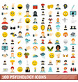 100 psychology icons set flat style vector image vector image