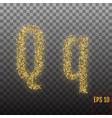 alphabet gold letter q on transparent background vector image vector image