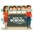 back to school teachers with their students vector image vector image