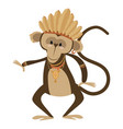 cartoon chimpanzee indian of vector image vector image