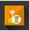 cartoon girl blonde grocery bag vegetables vector image vector image