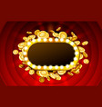 casino lamp frame with gold realistic 3d coins vector image