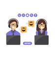 customer support service concept vector image vector image
