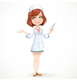 Cute girl nurse in white medical coat preparing vector image