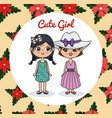 cute girls couple characters with floral frame vector image vector image