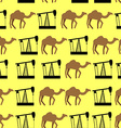Desert camels and oil pumps seamless pattern vector image vector image
