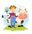 Farmer With Cow vector image