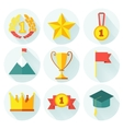 flat design set awards icons with lonh vector image