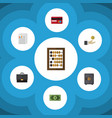 flat icon finance set of strongbox hand with coin vector image vector image