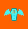flat icon on stylish background wings coffin vector image