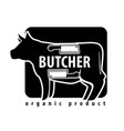 fresh meat icon for butcher shop cow or vector image