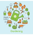 Gardening Thin Line Icons Set with Flowers vector image