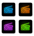glowing neon radio with antenna icon isolated on vector image