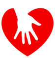 Hand and heart vector image vector image