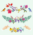 hands and flowers cute decorative set vector image vector image