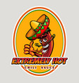 hot chili sauce emblem vector image vector image