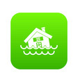 house sinking in a water icon digital green vector image vector image