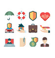 insurance symbols various cases for travelers vector image