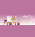 interior workplace at home office banner vector image vector image
