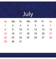 july 2018 calendar popular blue premium for vector image vector image