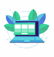 laptop with open browser and floating windows vector image vector image