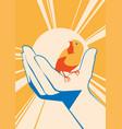 little bird in hand flat illlustration vector image