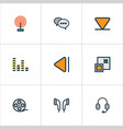 music colorful outline icons set collection of vector image