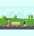 people on bikes ride in city park vector image vector image