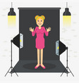 photostudio girl standing vector image vector image