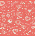 pink seamless pattern with doddle hearts vector image