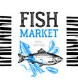 Restaurant fresh sea food menu Fish market pakage vector image