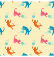 Seamless pattern with cute colored playing cats vector image vector image