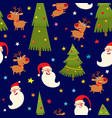 seamless pattern with reindeers and santa vector image