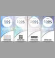 Set of modern gift voucher templates Blue vector image vector image