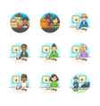 set of multicolor services icons vector image