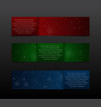 Set Red Green Blue RGB Banners New Year Christmas vector image