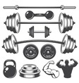 set vintage fitness designed elements vector image vector image