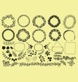 Set with hand-drawn wreaths ribbons flowers and