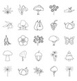 variety of flora icons set outline style vector image vector image