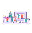 virtual christmas party happy people safely vector image vector image