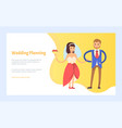 wedding planning happy couple bride with bouquet vector image