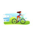 woman riding a bicycle vector image vector image